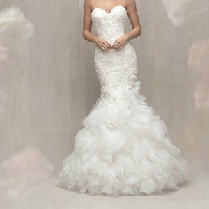 C450 Allure Couture Wedding Dress Ruffle Sparkle